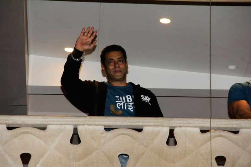 Actor Salman Khan celebrates the launch of Tubelight trailer, in Mumbai on May 25, 2017. - Salman Khan
