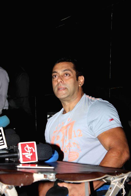 Actor Salman Khan during a media interaction on the success of his film Bajrangi Bhaijaan in Mumbai, on Aug 10, 2015. - Salman Khan