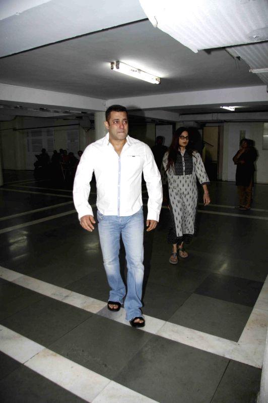 Actor Salman Khan during a prayer meeting late of filmmaker Rajjat Barjatya, in Mumbai, on July 31, 2016. - Salman Khan