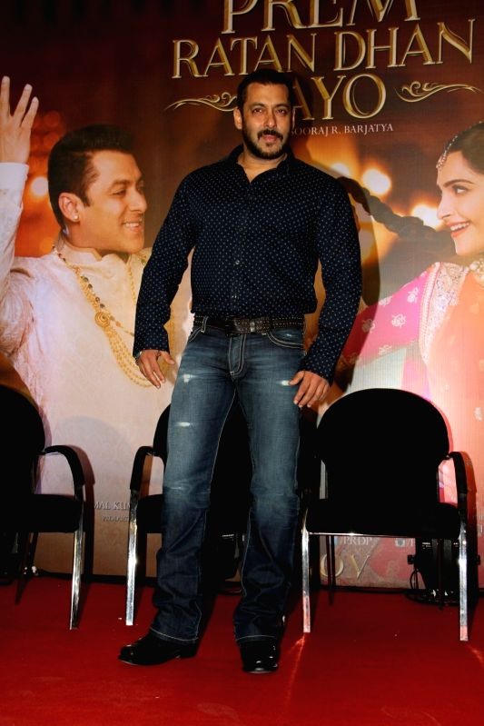 Actor Salman Khan during the press conference organised to thank the audience for the love and support they have shown for the film Prem Ratan Dhan Payo in Mumbai on Nov 16, 2015. - Salman Khan