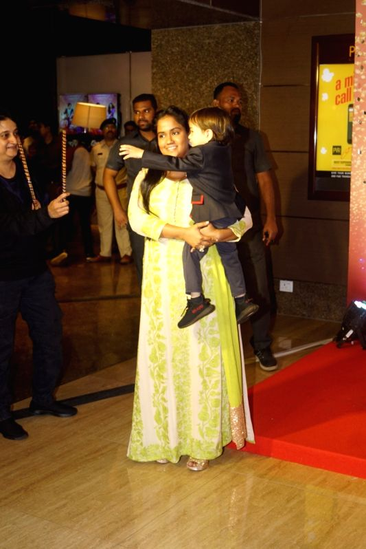 "Actor Salman Khan's sister Arpita Khan along with her son Ahil Sharma at the trailer launch of upcoming film ""Loveratri"" in Mumbai on Aug 6, 2018. - Salman Khan, Arpita Khan and Ahil Sharma"