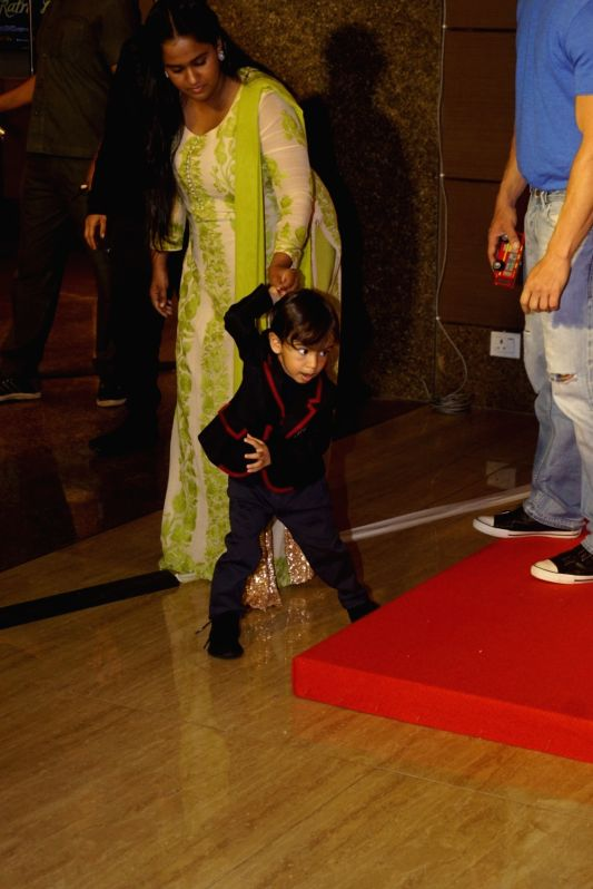 "Actor Salman Khan's sister Arpita Khan along with her son Ahil Sharma at the trailer launch of upcoming film ""Loveratri"" in Mumbai on Aug 6, 2018. - Salman Khan, Arpita Khan and Ahil Sharma"