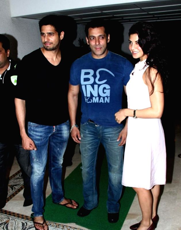 Actor Salman Khan, Sidharth Malhotra, and Jaqueline Fernandez, at Sidharth Malhotra hosted party for Ek Villain success at his residence in Mumbai  on June 28, 2014. - Salman Khan