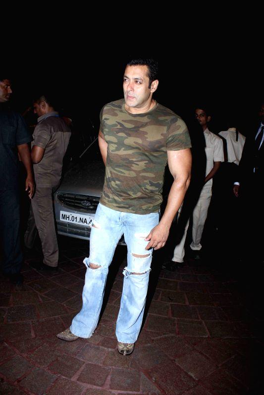 Actor Salman Khan snapped in Bandra in Mumbai on 29 June 2015.