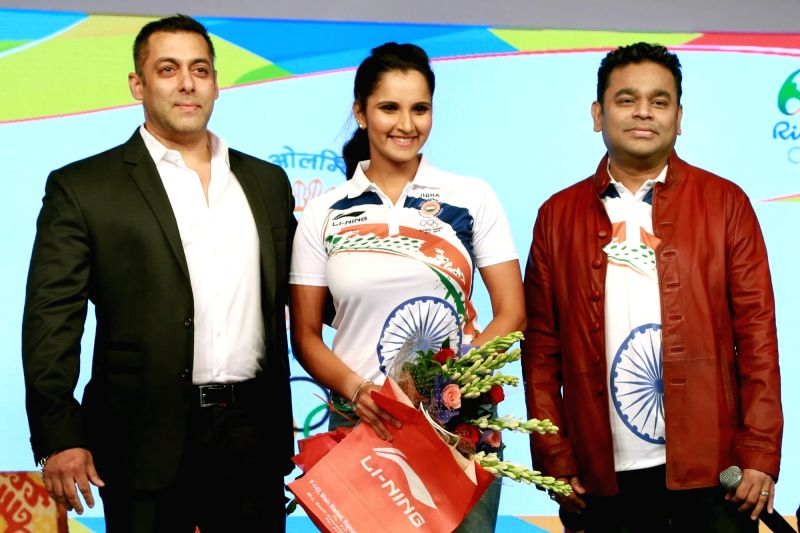 Actor Salman Khan, tennis player Sania Mirza and composer AR Rahman during the sendoff ceremony of Indian Contingent for Rio Olympics 2016, organised by Indian Olympic Association, in New ... - Salman Khan and Sania Mirza