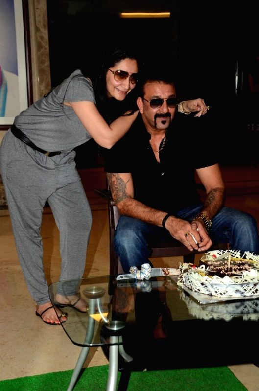 Actor Sanjay Dutt along with his wife Manyata Dutt celebrates his 57th birthday at his residence, in Mumbai, on July 29,  2016. - Sanjay Dutt and Manyata Dutt