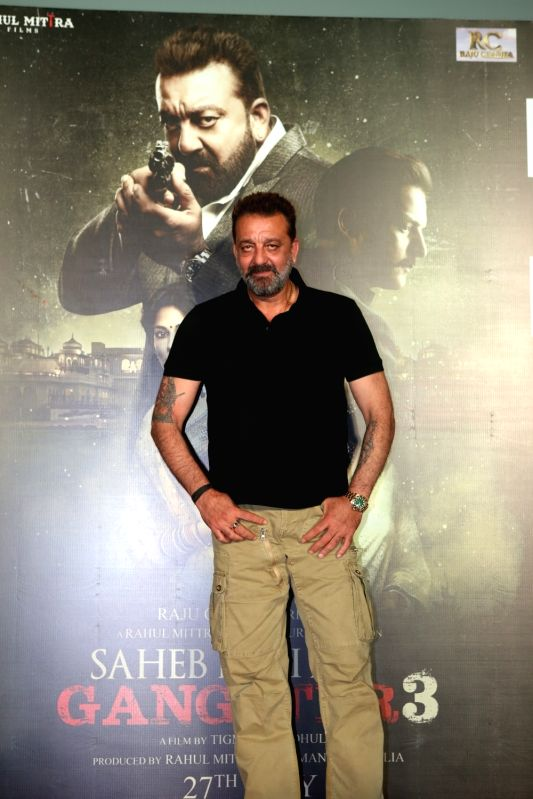 """Actor Sanjay Dutt at the trailer launch of his upcoming film """"Saheb, Biwi Aur Gangster 3"""" in Mumbai, on June 30, 2018.(Image Source: IANS)"""