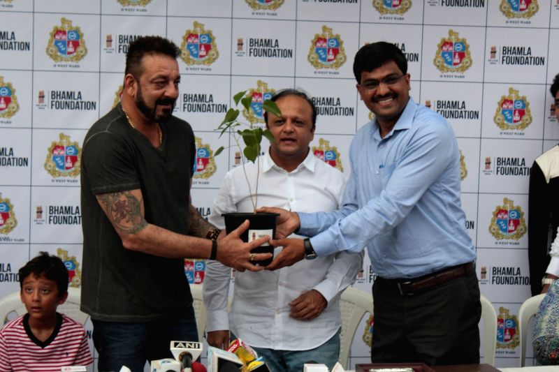 Actor Sanjay Dutt during Plantation Initiative By MCGM Bhamla Foundation in Mumbai, on June 2, 2017. - Sanjay Dutt