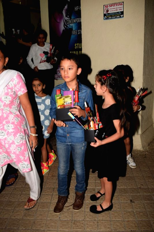 Actor Sanjay Dutt's children Shahraan Dutt and Iqra Dutt seen at a cinema theatre in Juhu, Mumbai on July 24, 2018. - Sanjay Dutt, Shahraan Dutt and Iqra Dutt