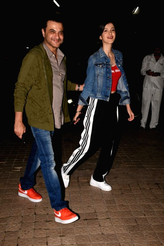 Actor Sanjay Kapoor with his daughter Shanaya Kapoor seen at a cinema theatre in Juhu, Mumbai on July 29, 2018. - Sanjay Kapoor and Shanaya Kapoor