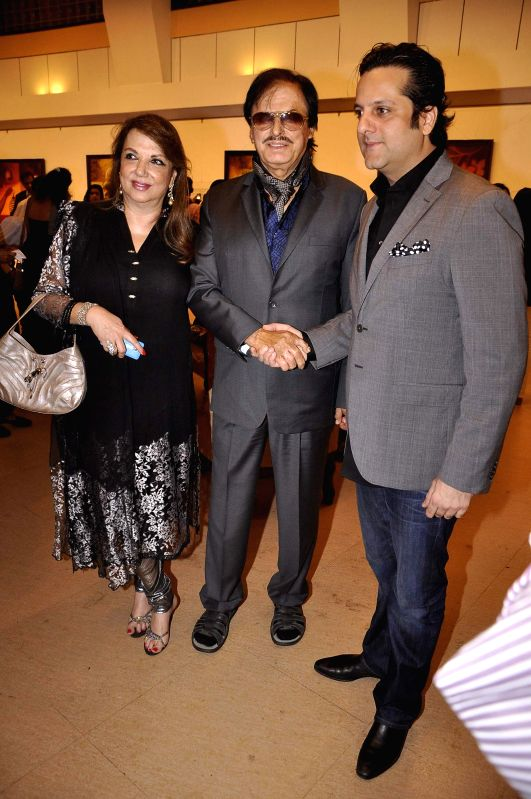 Actor Sanjay Khan along with his wife Zarine Khan and actor Fardeen Khan during the inauguration of art exhibition Divinity by artist Dr Archana Srivastava in Mumbai on Dec 1, 2014. - Sanjay Khan, Zarine Khan and Fardeen Khan