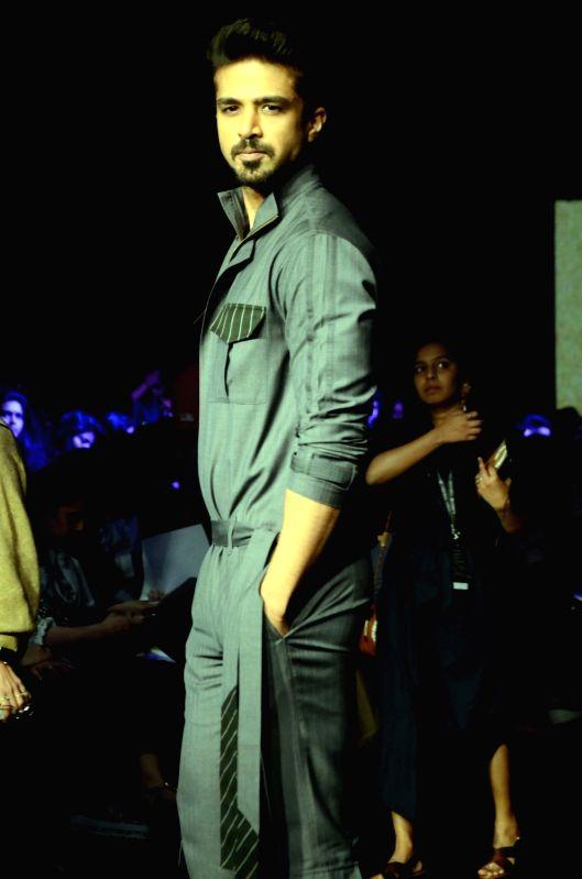 Actor Saqib Saleem walks the ramp during the Lakme Fashion Week Summer/Resort 2018  in Mumbai on Jan 31, 2018. - Saqib Saleem