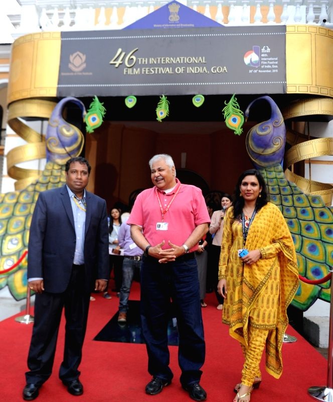 Actor Satish Shah on Red Carpet, at the 46th International Film Festival of India (IFFI-2015), in Panaji, Goa on Nov 28, 2015.