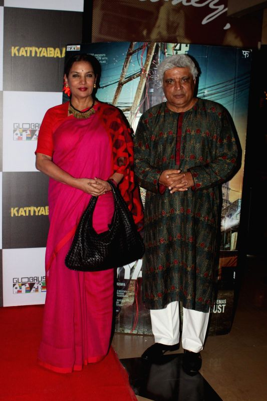 Actor Shabana Azmi and lyricist Javed Akhtar during the screening of the film Katiyabaaz in Mumbai, on Aug. 20, 2014. - Shabana Azmi