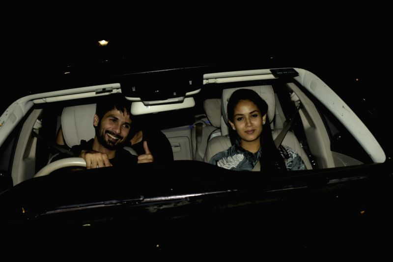 "Actor Shahid Kapoor along with his wife Mira Rajput at the special screening of upcoming film ""Dhadak"" in Mumbai on July 18, 2018. - Shahid Kapoor"