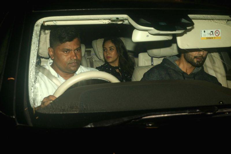 Actor Shahid Kapoor with his wife Mira Rajput seen at Mumbai's Juhu on July 15, 2018. - Shahid Kapoor