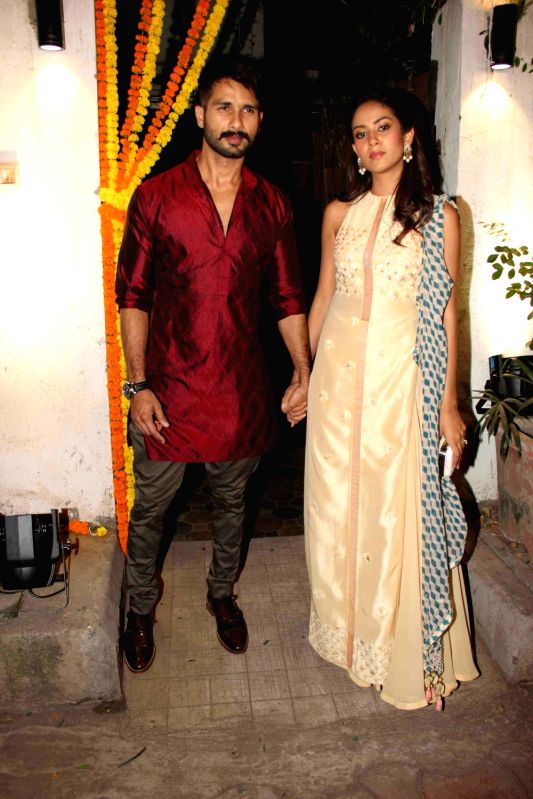Actor Shahid Kapur with wife Mira Rajput during the Fashion designer Masaba Gupta sangeet ceremony in Mumbai on November 21, 2015. - Shahid Kapur