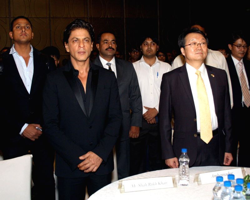 Actor Shahrukh Khan who was appointed as the goodwill ambassador for South Korea by Korean envoy to India Joonngyu Lee in Gurgaon on April 11, 2014.