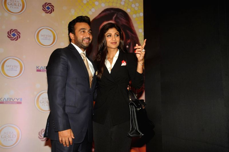 Actor Shilpa Shetty and her husband Raj Kundra during the announcing the launch of the Gold plan of Satyug Gold, a company promoted by them at Hotel ITC Grand Central in Mumbai on July 8, 2014. - Raj Kundra