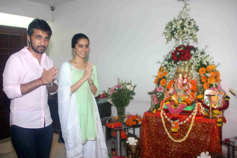 Actor Shraddha Kapoor during the Ganesh Chaturthi celebrations at her residence in Mumbai on Aug 29, 2014.