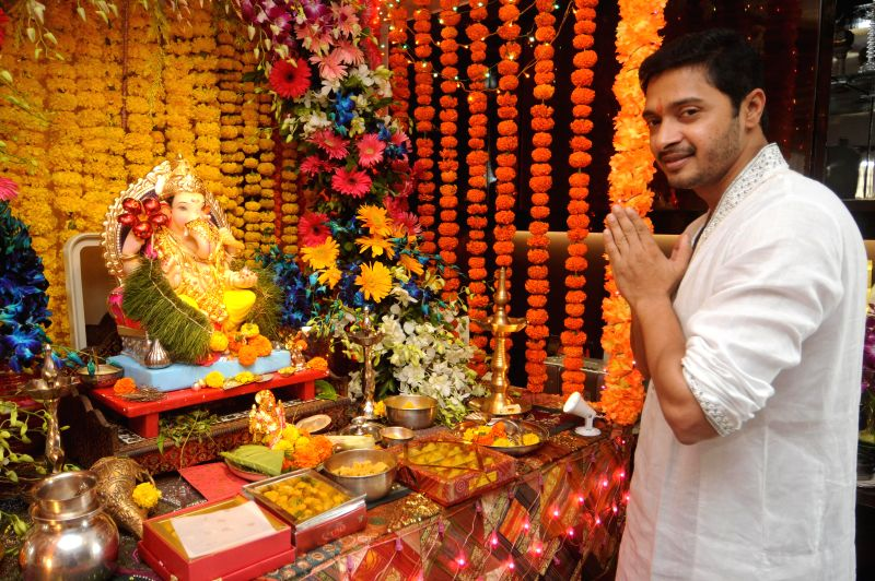 Actor Shreyas Talpade during the Ganesh Chaturthi celebrations at his residence in Mumbai on Aug 29, 2014.