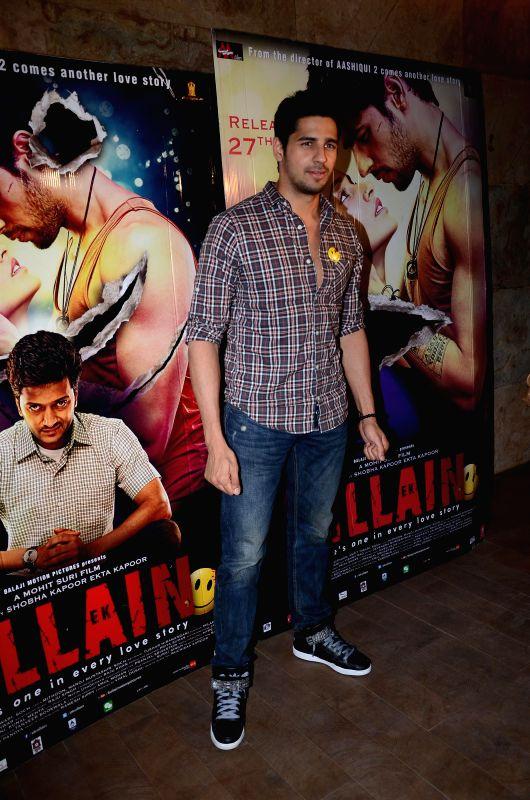 Actor Sidharth Malhotra during the special screening of his upcoming movie Ek Villain in Mumbai on June 25th, 2014. - Sidharth Malhotra
