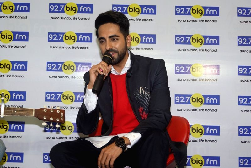 Actor-singer Ayushmann Khurrana pays tribute to late singer Kishore Kumar ahead to his birth anniversary in Mumbai on July 30, 2018. - Kishore Kumar