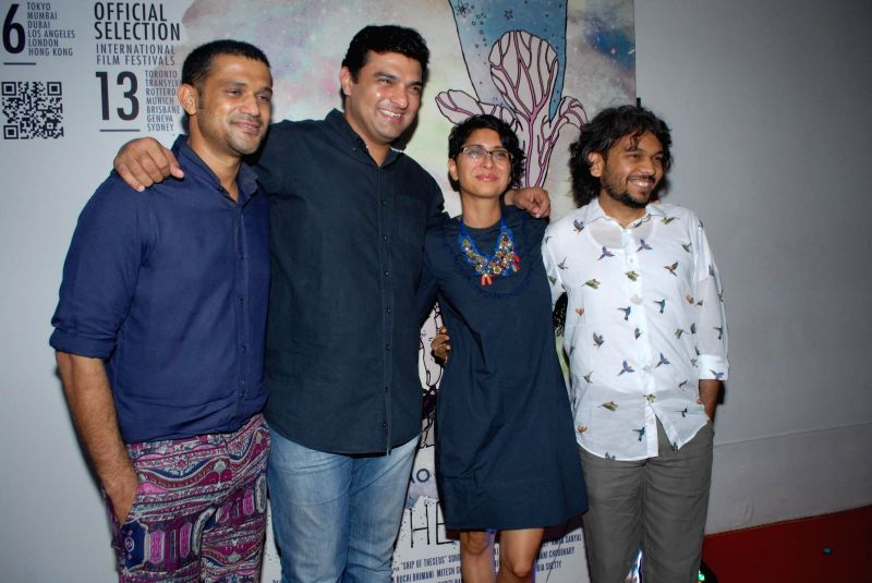 Actor Sohum Shah, Siddharth Roy Kapoor, CEO, UTV Motion Pictures, filmmaker Kiran Rao and Anand Gandhi during the success party of the films Shahid and Ship of Theseus in Mumbai on May 13, 2014. - Sohum Shah, Siddharth Roy Kapoor, Kiran Rao and Anand Gandhi