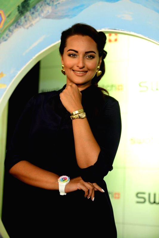 Actor Sonakshi Sinha during the launch of Swatch Fall Winter 2014 Collection, in Mumbai, on Aug. 26, 2014.