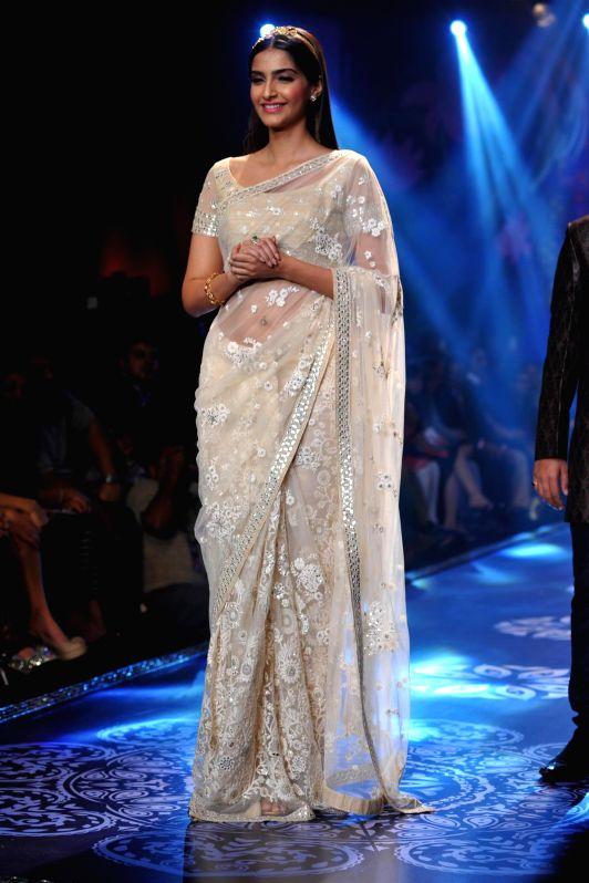 Actor Sonam Kapoor during the grand finale of India International Jewellery Week (IIJW) in Mumbai on July 17, 2014.