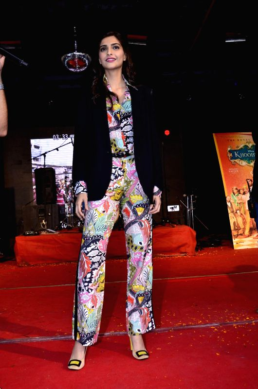Actor Sonam Kapoor promotes her upcoming film Khoobsurat during the Umang 2014 festival in Mumbai on Aug. 16, 2014.
