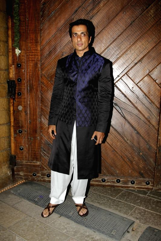 Actor Sonu Sood arrive to attend the Amitabh Bachchan's Diwali party in Mumbai on Nov 11, 2015. - Sonu Sood