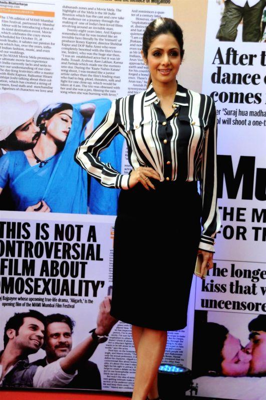 Actor Sridevi at the 2nd day of Jio MAMI 17th Mumbai Film Festival in Mumbai on Oct 31, 2015. - Sridevi