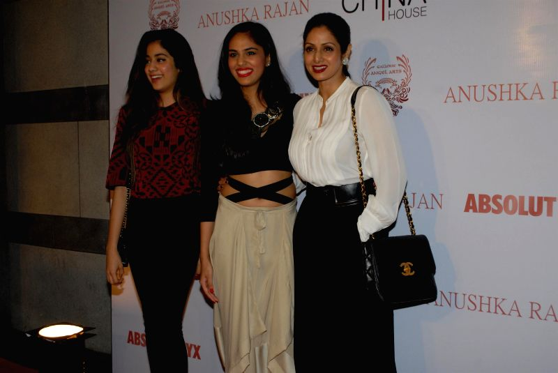 Actor Sridevi with her daughter Jahnavi and actor Anushka Ranjan during the Absolut Elix and Anushka Ranjan fashion preview in Mumbai, on July 31, 2014. - Sridevi