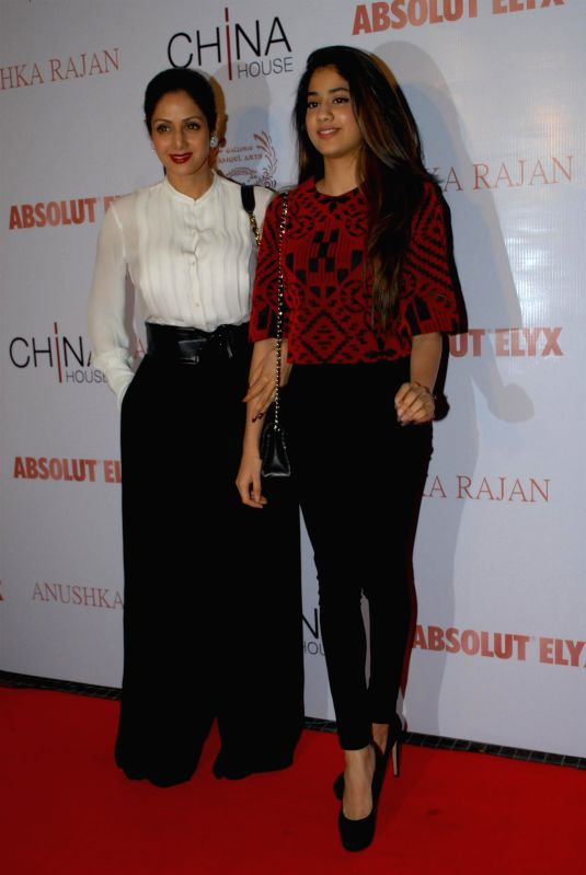 Actor Sridevi with her daughter Jahnavi during the Absolut Elix and Anushka Ranjan fashion preview in Mumbai, on July 31, 2014. - Sridevi