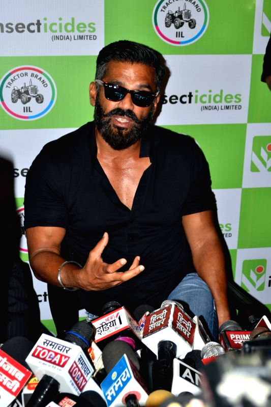 Actor Suniel Shetty addresses a press conference in Agra on May 22, 2017. - Suniel Shetty