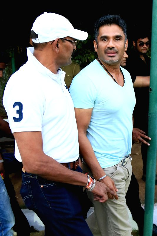 Actor Sunil Shetty during Celebrity Cup at Sawai Mansingh Stadium in Jaipur on June 22, 2014.