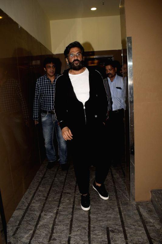 """Actor Sunil Shetty during the screening of film """"Uri"""", in Mumbai on Jan 9, 2019. - Sunil Shetty"""