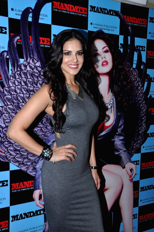 Actor Sunny Leone during the launch of men`s magazine Mandate April issue, in Mumbai, on April 10, 2014.