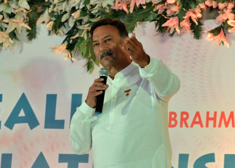 Actor Suresh Oberoi addresses during a programme organised in Amritsar on June 29, 2014.