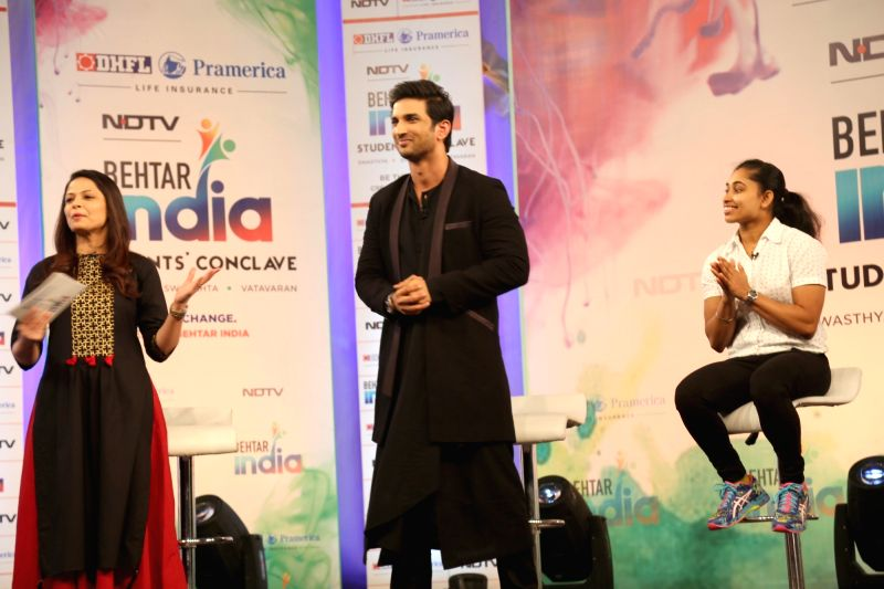 Actor Sushant Singh Rajput and Indian Gymnast Dipa Karmakar at the Behtar India Students' Conclave in New Delhi on Aug 4, 2017. - Sushant Singh Rajput