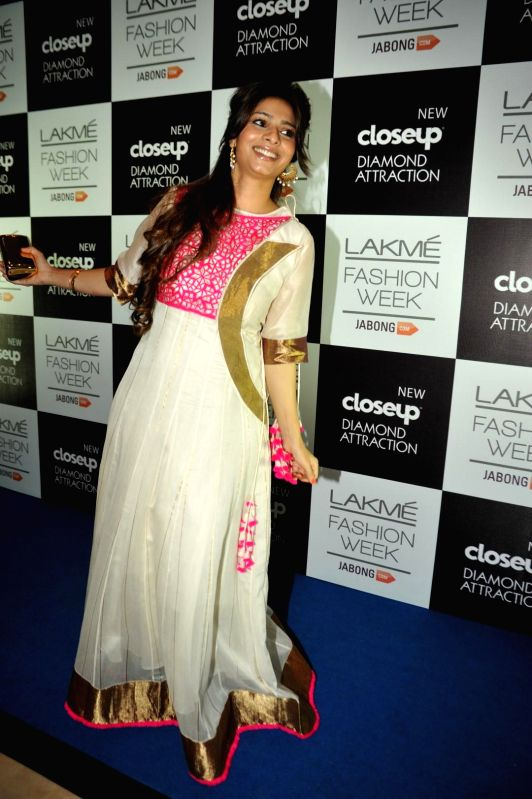 Actor Tanishaa Mukherjee during the Lakme Fashion Week (LFW) Winter/ Festive 2014 in Mumbai, on Aug. 21, 2014. - Tanishaa Mukherjee