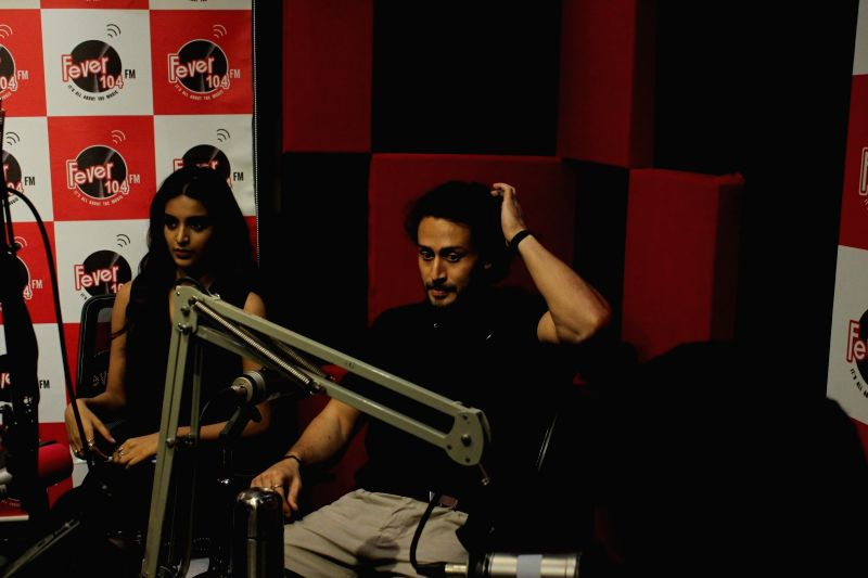 Actor Tiger Shroff and Actress Nidhhi Agerwal arrives at Red Fm for parmotion of their upcomming film Munna Michael in Mumbai on June 22, 2017. - Tiger Shroff