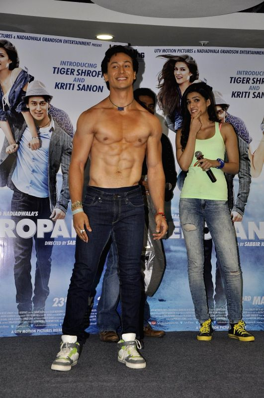 Actor Tiger Shroff celebrate World Dance day during the promotion of upcoming film Heropanti in Mumbai on April 28, 2014. - Tiger Shroff