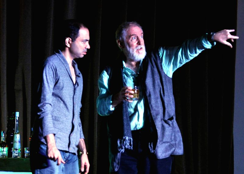 Actor Tom Alter stages `When God Said Cheers` a drama written by Anurag Kashyap and directed by Cyrus Dastur in Gurgaon on July 27, 2014. - Tom Alter and Anurag Kashyap