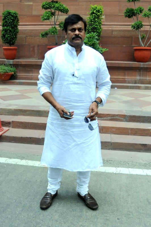 Actor turned politician Chiranjeevi at the Parliament premises in New Delhi on July 17, 2014.