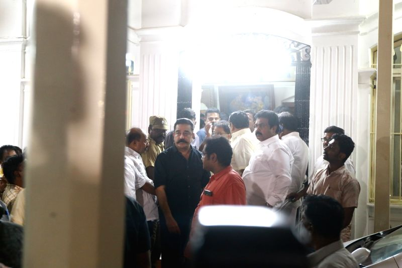 Actor turned politician Kamal Haasan atGopalapuram residence of DMK president M. Karunanidhi where doctors are treating the latter for fever due to a urinary tract infection, in Chennai on ...
