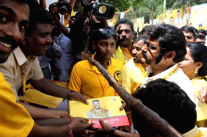 Actor-turned politician Nandamuri Balakrishna during the inauguration of Telugu Desam Party's 'Mahanadu' -mega-convention- in Tirupathi on May 27, 2016.