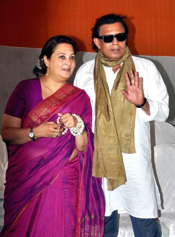 Actor-turned-politicians Mithun Chakraborty and Moon Moon Sen during a programme organised to celebrate Trinamool Congress's performance in 2014 Lok Sabha Elections at party supremo Mamata Banerjee's - Mithun Chakraborty