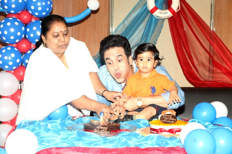 Actor Tussar Kapoor celebrates his son Laksshay`s first birthday in Mumbai on June 1, 2017. - Tussar Kapoor